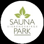 Saunapark Logo auf weißem Kreis
