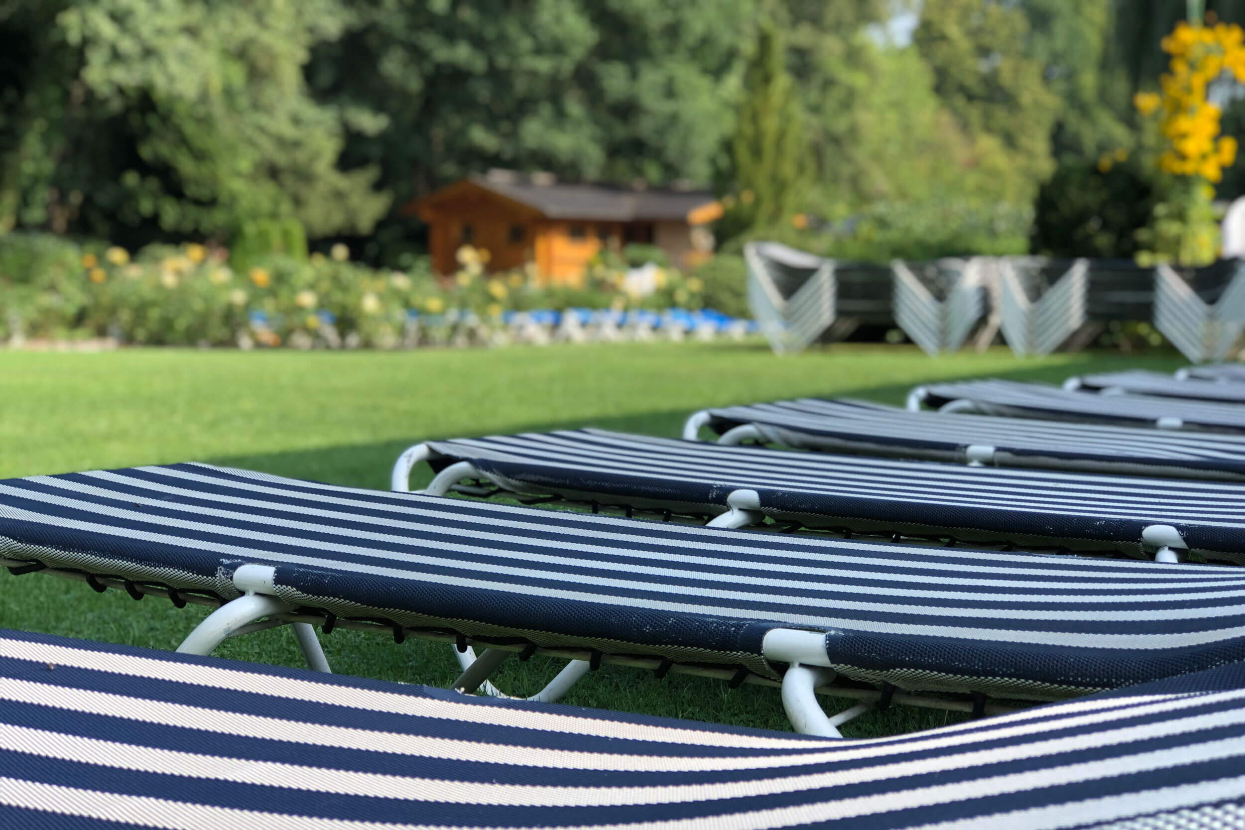 Foto von Liegen und Liegewiese im Saunagarten